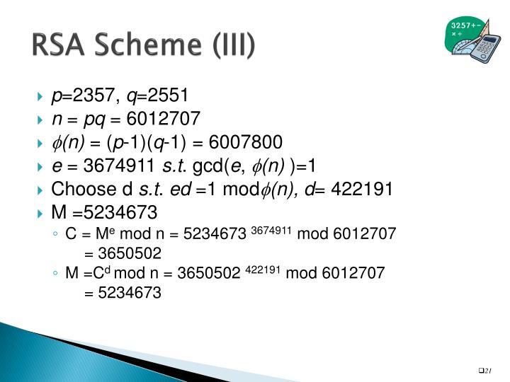 RSA Scheme (III)