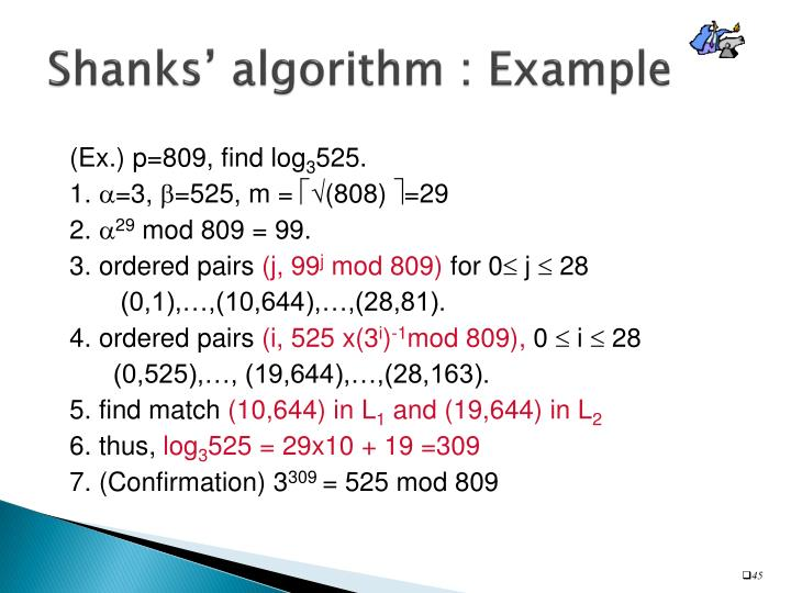Shanks' algorithm : Example