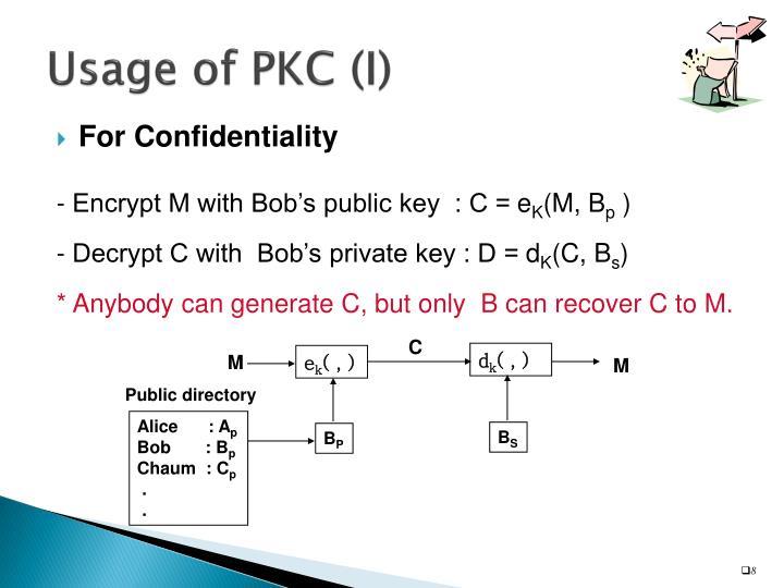 Usage of PKC (I)