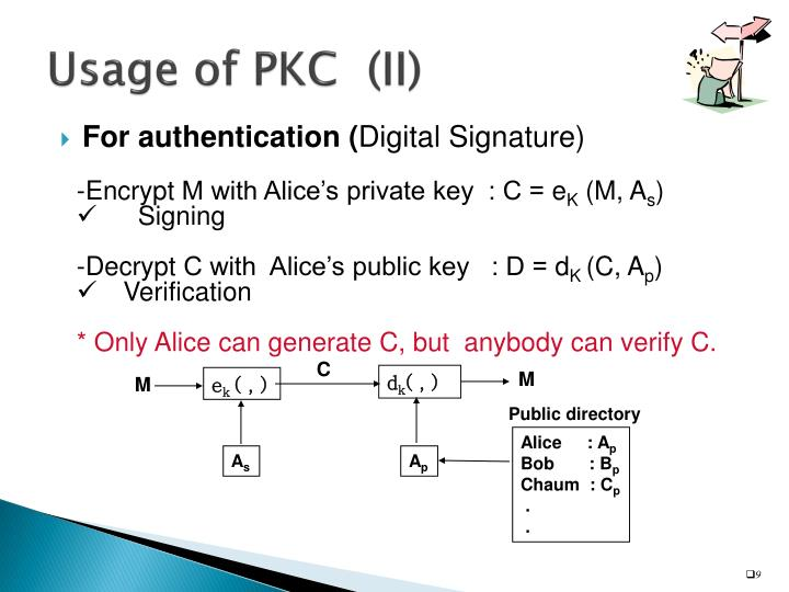 Usage of PKC  (II)