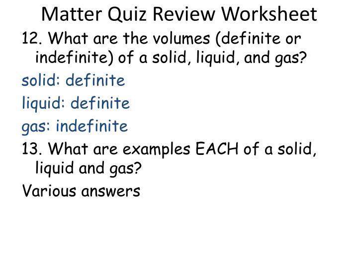 Matter Quiz Review