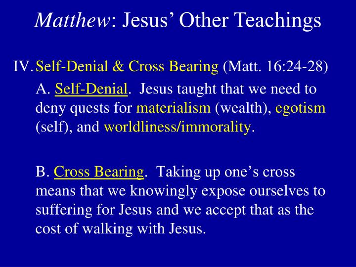 Self-Denial & Cross Bearing