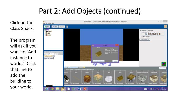 Part 2: Add Objects (continued)