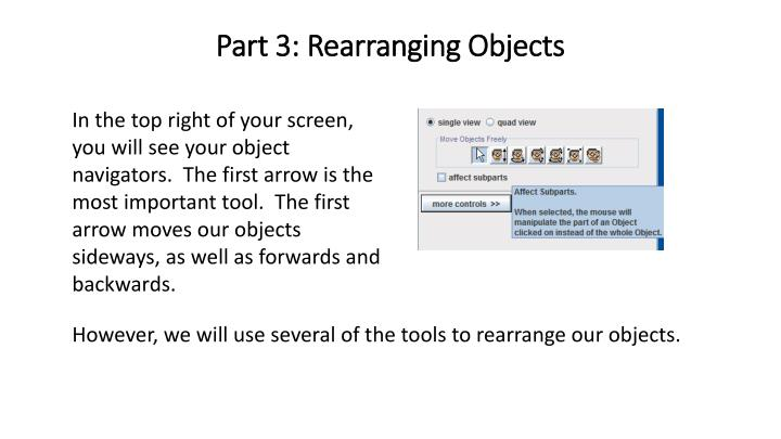 Part 3: Rearranging Objects