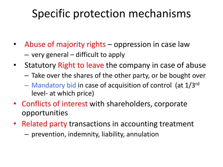 Specific protection mechanisms