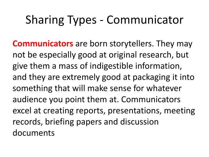 Sharing Types - Communicator