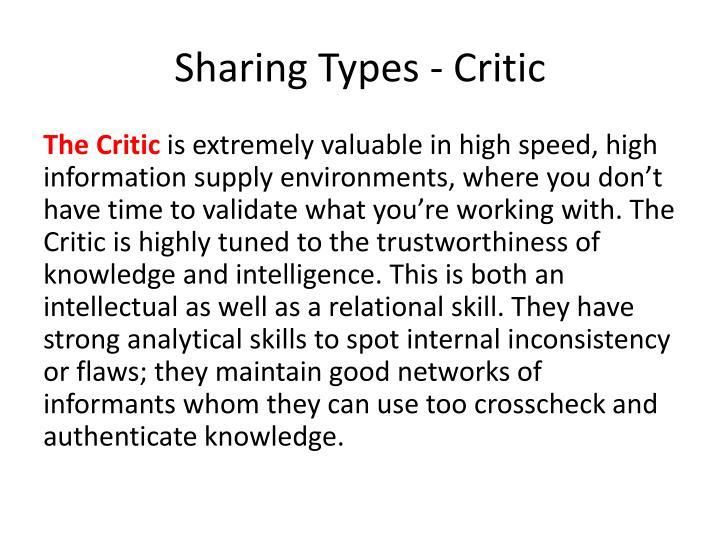 Sharing Types - Critic