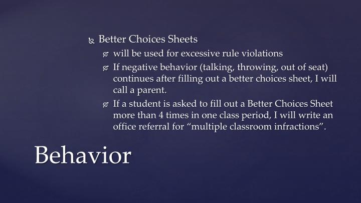 Better Choices Sheets