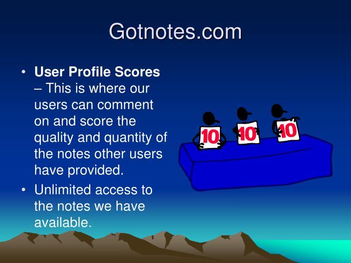 User Profile Scores