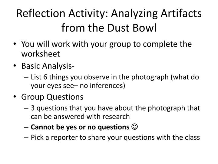 Reflection Activity: Analyzing Artifacts from the Dust Bowl