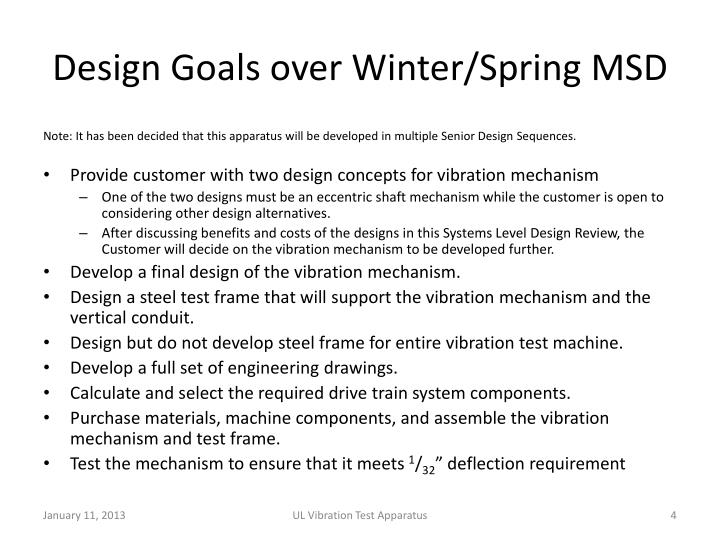 Design Goals over Winter/Spring MSD