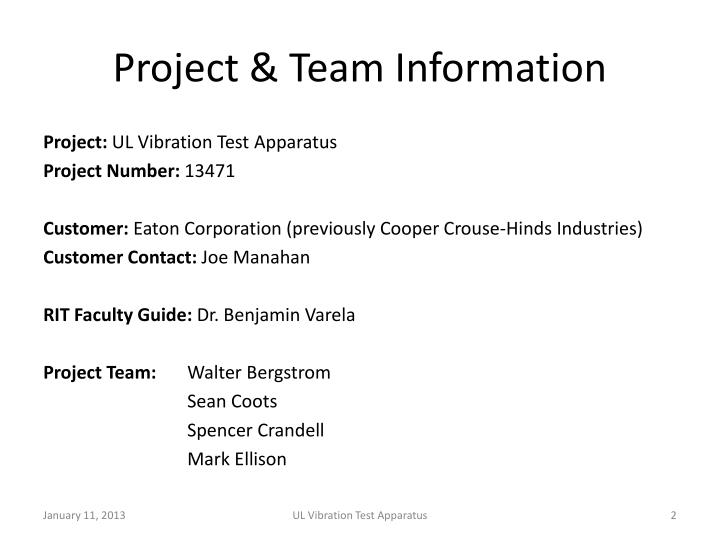 Project & Team Information