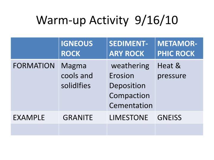 Warm-up Activity  9/16/10
