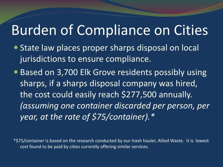 Burden of Compliance on Cities