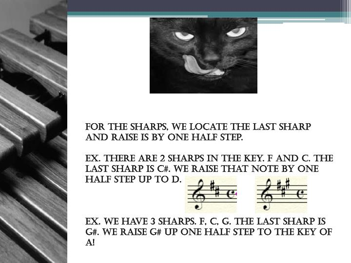 For the Sharps, we locate the last sharp and raise is by one half step.