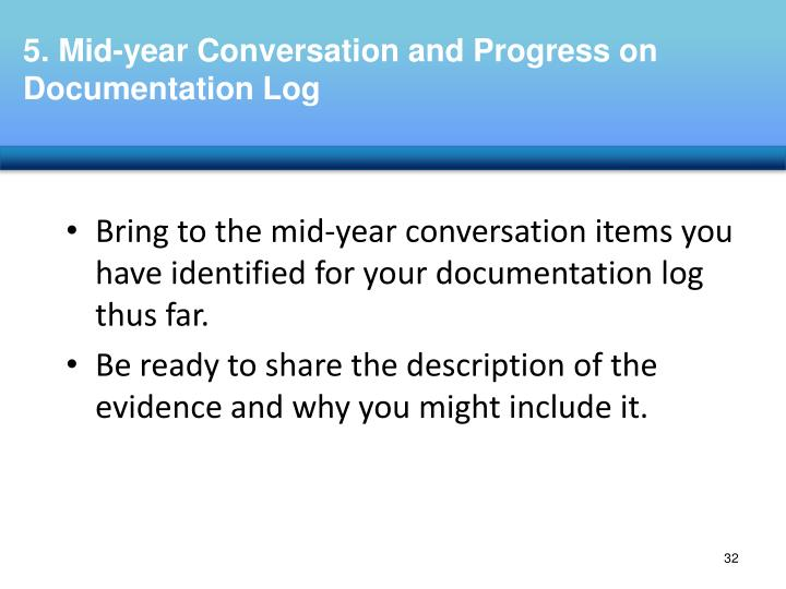 Bring to the mid-year conversation items you have identified for your documentation log thus far.