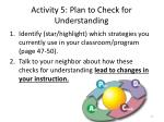 activity 5 plan to check for understanding