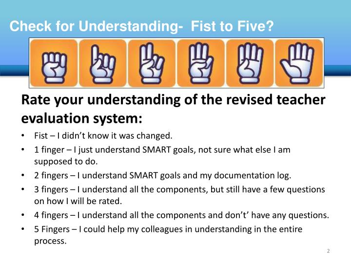 Check for Understanding-  Fist to Five?