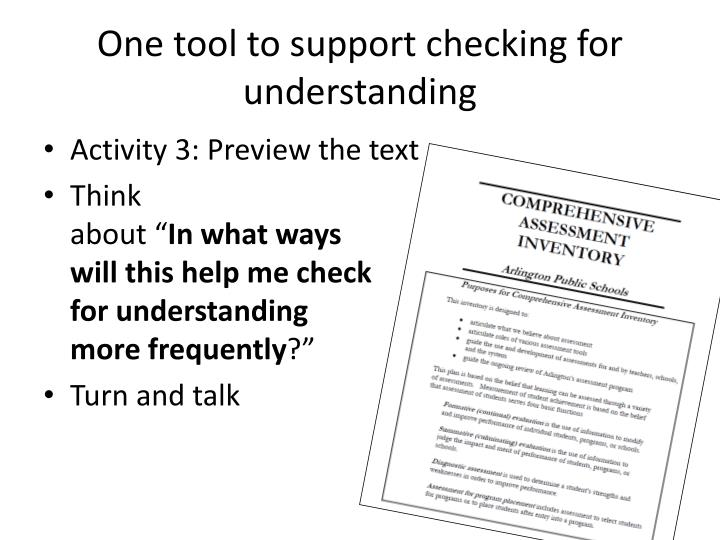 One tool to support checking for understanding