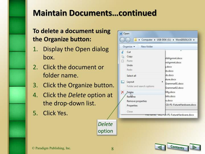 Maintain Documents…continued