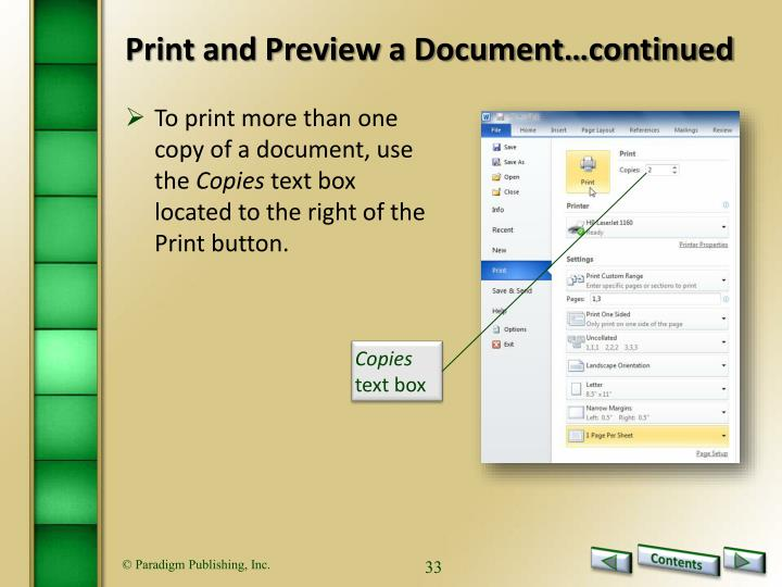Print and Preview a Document…continued