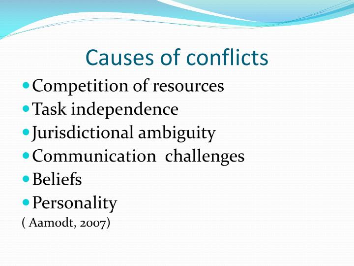 Causes of conflicts