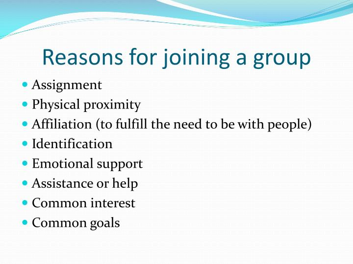 Reasons for joining a group