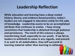 leadership reflection