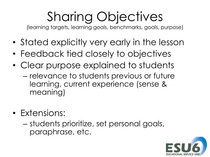 Sharing Objectives