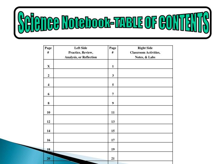 Science Notebook-TABLE