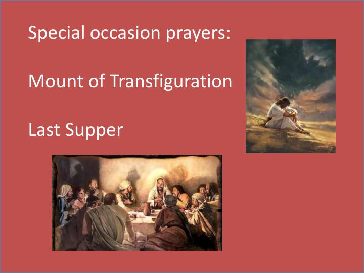 Special occasion prayers: