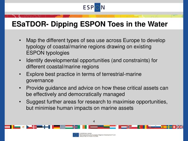 Map the different types of sea use across Europe to develop typology of coastal/marine regions drawing on existing ESPON typologies