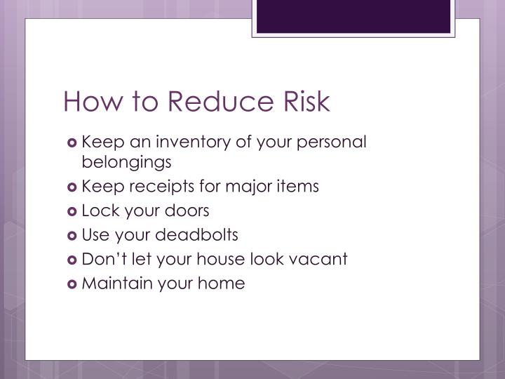 How to Reduce Risk