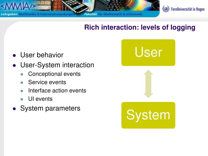 Rich interaction: levels of logging