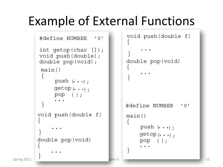 Example of External Functions