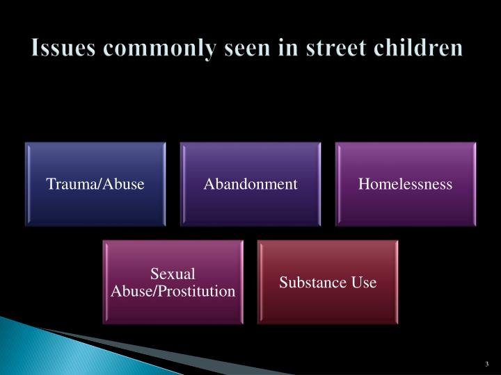 Issues commonly seen in street children