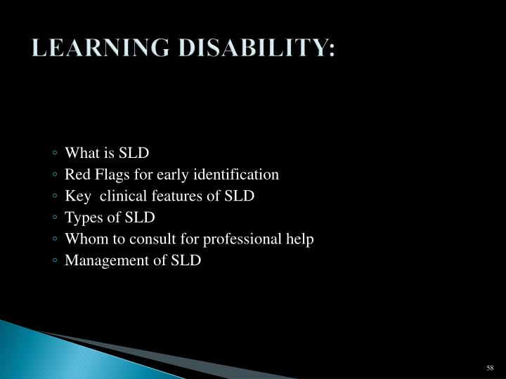 LEARNING DISABILITY: