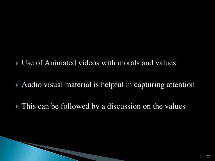 Use of Animated videos with morals and values