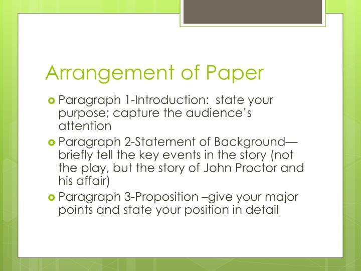 Arrangement of Paper