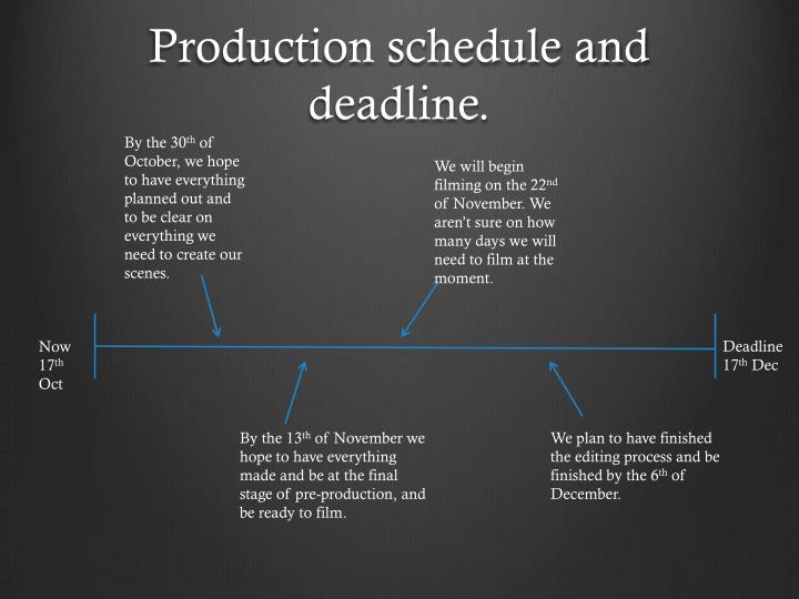 Production schedule and deadline.