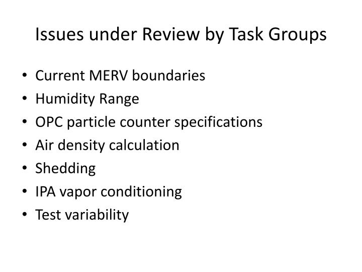 Issues under Review by Task Groups