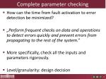 complete parameter checking