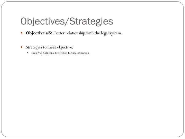 Objectives/Strategies