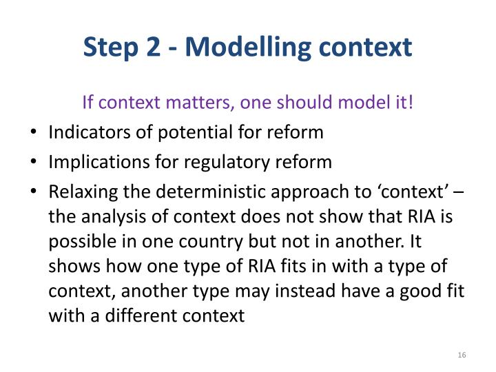 Step 2 - Modelling context