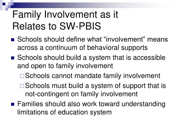 Family Involvement as it