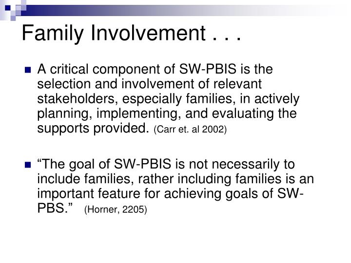 Family Involvement . .
