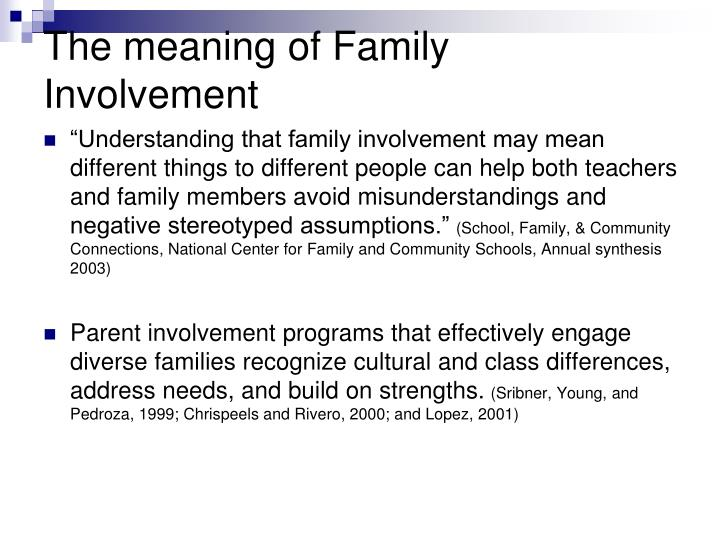 The meaning of Family Involvement