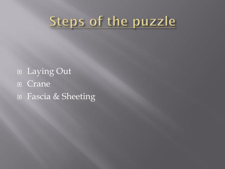 Steps of the puzzle
