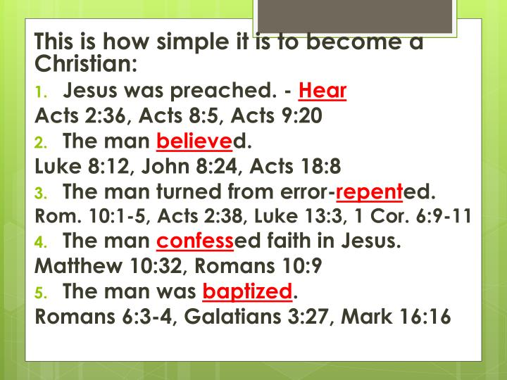 This is how simple it is to become a Christian: