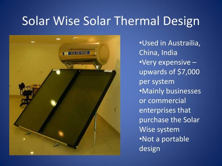 Solar Wise Solar Thermal Design